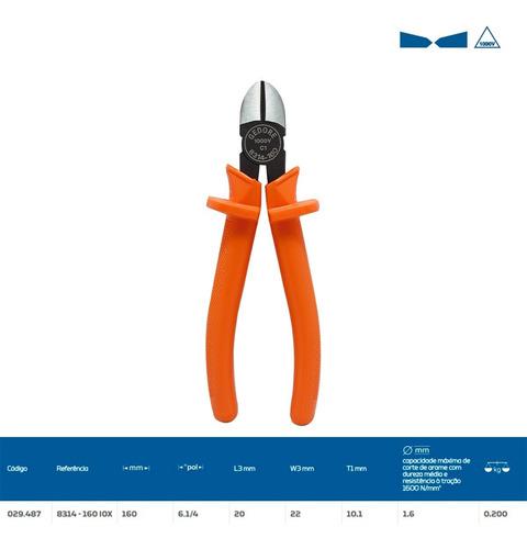 Imagem 1 de 3 de Alicate Corte Diagonal 6.1/4 Isolado 1000v 8314-160 Gedore