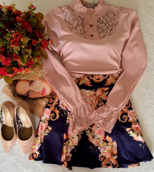 Blusa Rosa Manga Longa Com Renda Tam P