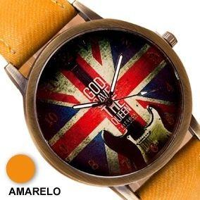 Relógio Vintage Bandeira Inglaterra Pulseira Tecido Amarelo