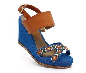 Sandália Feminina Plataforma Anabela Doma Shoes Caramelo E J
