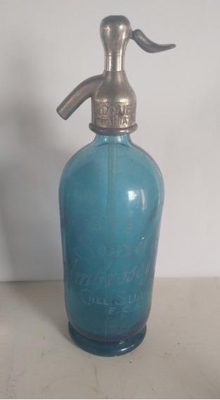 Antiguo Sifón Azul Soda Ambrosso Y Cía Cnel Suarez