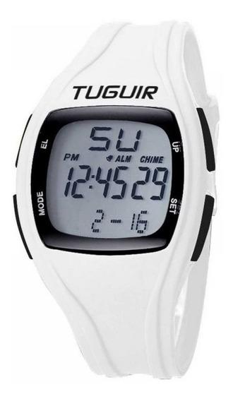 Relogio Conta Passo Digital Branco Tuguir Tg1602 Garantia