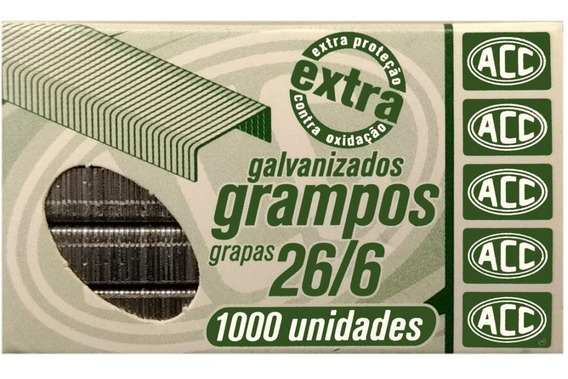 Grampo 26/6 Galvanizado Com 1000
