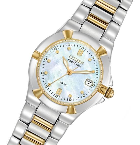 Reloj Dama Citizen Ew1534-57d Ecodrive Acero Diseño Elegante