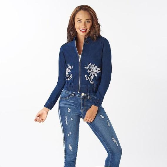 Chamarra Con Bordado Floral Para Dama Azul Mezclilla 014417