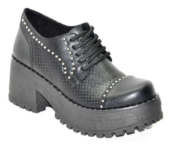 Zapato Mujer Plataforma Tachas Negro Moda Cordon Savage