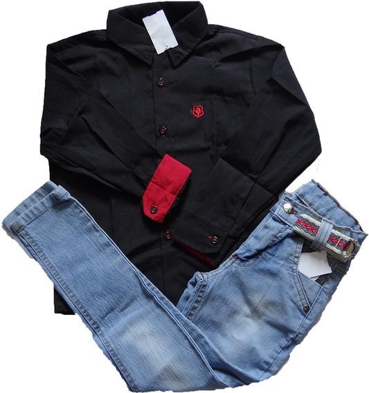 Conjunto Calça Jeans Infantil Masculina + Camisa 02 Ao 08