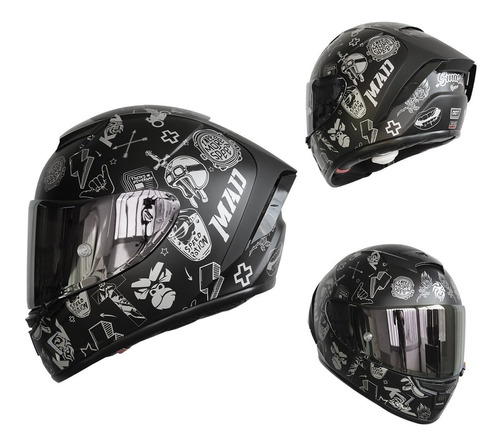 Imagen 1 de 8 de Casco Para Moto Kov Aircut Smash Plata Negro Mica Plata