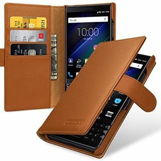 Estuche De Cuero Premium Para Blackberry Key2 Tipo De Libro