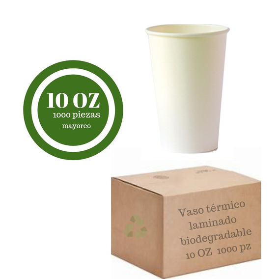 Vaso Térmico Biodegradable Blanco S/tapa 10 Oz. - 1000 Pzs