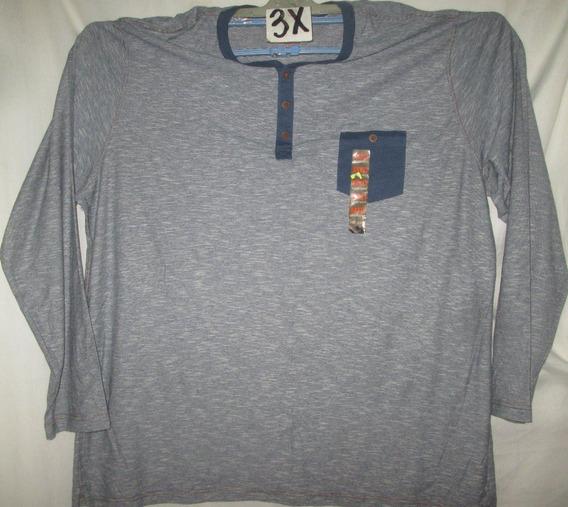 Camiseta Azul Y Crema Rayas Manga Larga Talla 3x Northwest