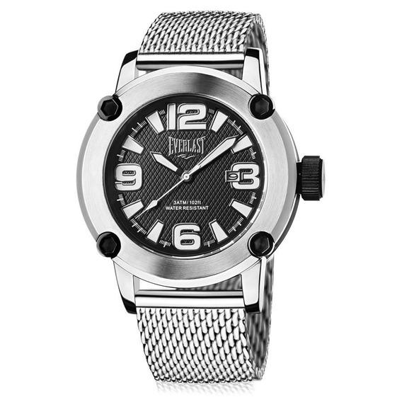 Relógio Everlast Masculino E10415 Big Case Prateado Mesh