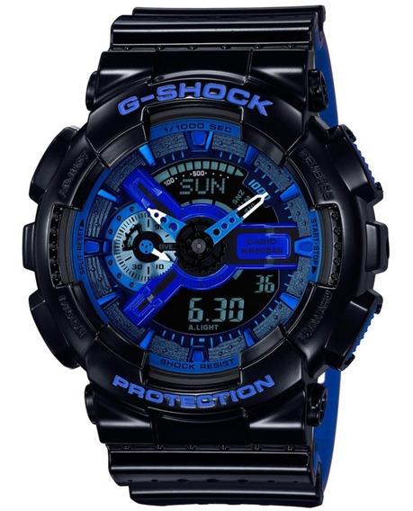 Relogio G-shock Preto Vernizado C/ Azul Pronta Entrega