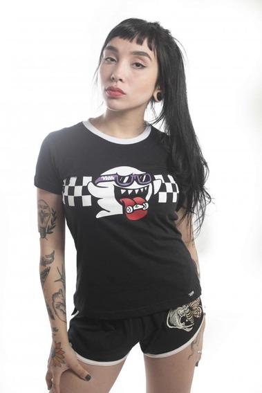 Camiseta Baby Look Threegirls Skate Ghost 100% Algodão Preto