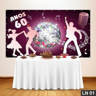Anos 60 Painel Lona 3,00x2,50 Frete Grátis Festa Aniversário