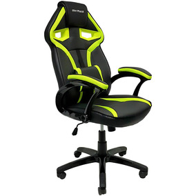 Cadeira Gamer Mx1 Giratoria Couro Preto E Verde Mymax