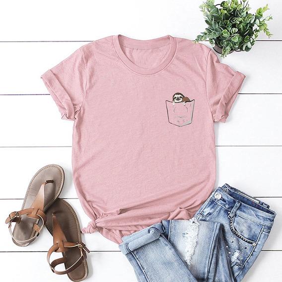 Verano Mujeres T - Camisa Lindo Pereza En Falso Bolsillo Imp