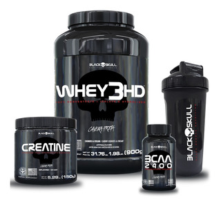 Kit Whey 3hd + Bcaa + Creatina + Shaker (cookies & Cream)