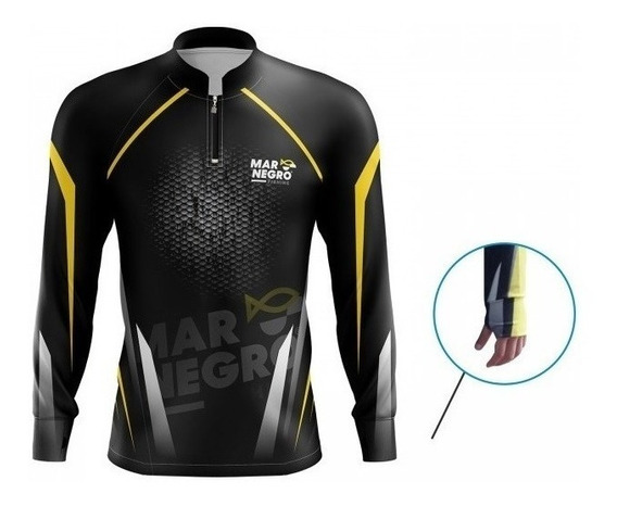 Camisa De Pesca Proteção Solar 50 Fps Uv Mar Negro Clean 1
