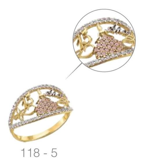 Anillo Vestido Xv Años Circonias Rosas Oro 10 K + Obsequio