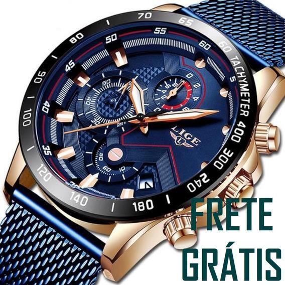 Frete Grátis Relógio Masculino Lige 9929 Original Casual Cronógrafo Funcional E Calendário Automático Pronta Entrega