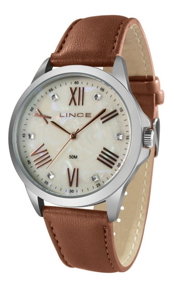Relógio Lince Feminino Lrcj082l B3nx Prata Couro Marrom