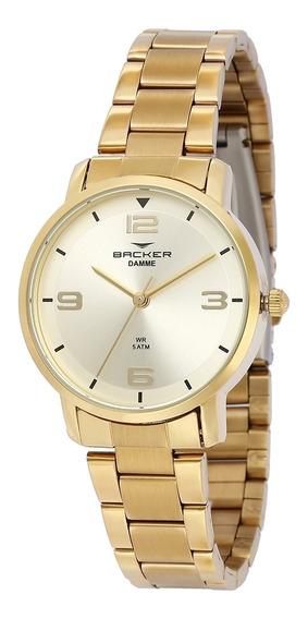 Relógio Feminino Backer Analógico 10267145f - Dourado