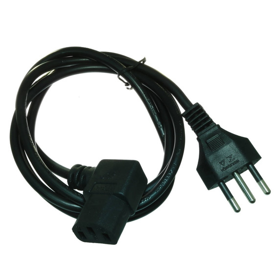 2*cabo De Força Para Computador Tripolar 1,5m Conector 90°