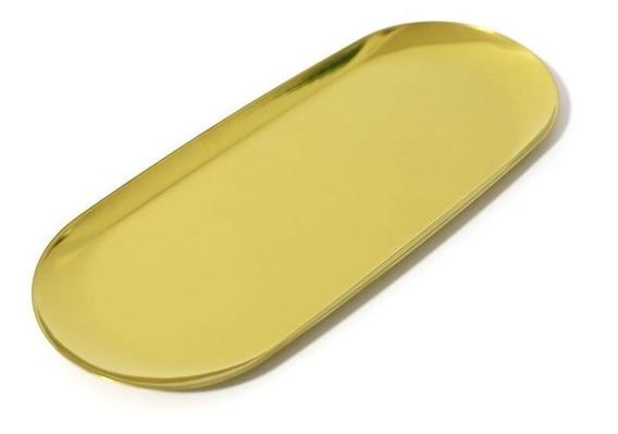 Bandeja Aço Inoxidável Estilo Nórdico Dourada 30x12