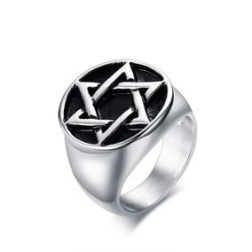 Anel Hexagrama Aço Maciço Estrela Davi Salomão Wicca H2
