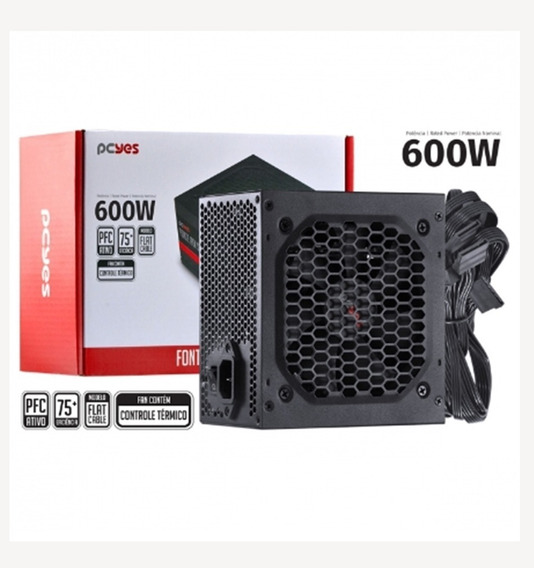 Fonte Gamer Pcyes Spark 600w Pfc Ativo 75+ Pxsp600wpt
