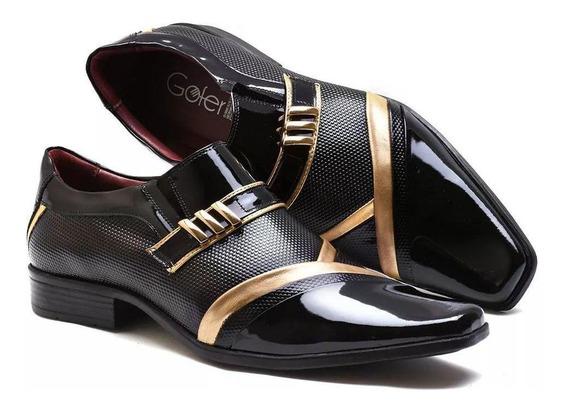Sapato Social Gofer Preto Ouro Couro Verniz 0752