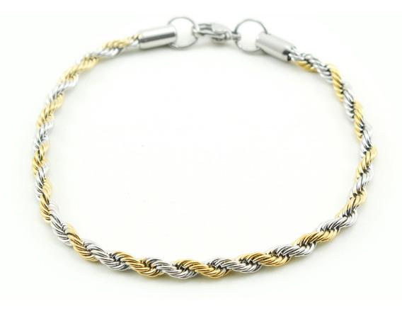 Pulseira Masculina Cordão Baiano 4 Mm Mesclada Ouro Prata