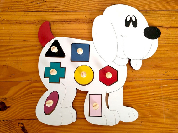 Geometrico Cachorro + Quebra Cabeça Vogais Mdf