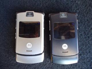 2 Celular Motorola V3 Defeito Visor Sem Bateria Carregador