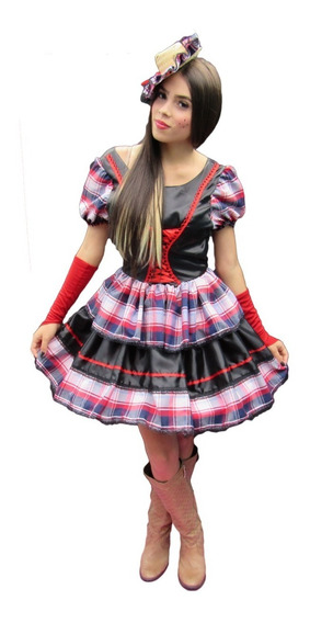 Vestido Festa Junina Caipira Quadrilha Adulto Com Luva