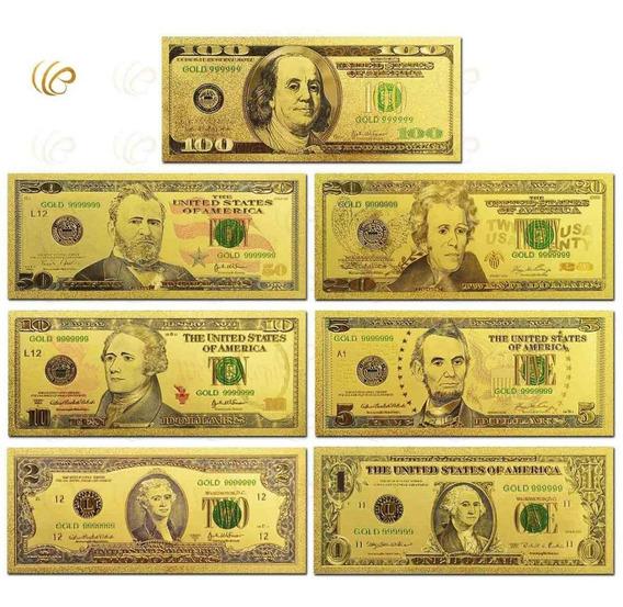Coleção Notas Cédulas Do 1 Ao 100 Dólares Folheada 24k Ouro