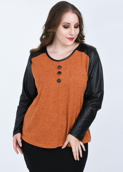 Remera Lanilla Manga Larga Mujer Tipo Sweater Talle Grande