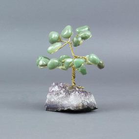 Árvore De Quartzo Verde Com Base De Ametista 5cm
