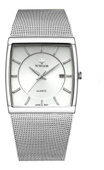 Relógio Fino Wwoor Quadrado 4 Opções De Cores Original