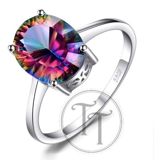 Solitario Topacio Arcoiris 3.42 Ct Plata Esterlina 925