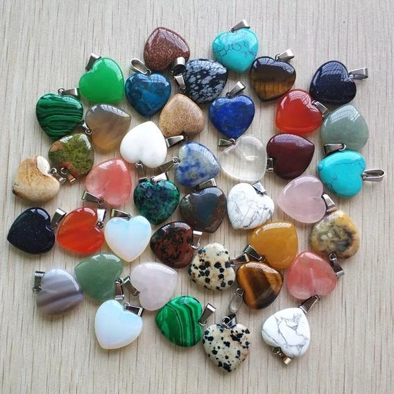 10 Dijes Corazón Piedra Natural Reiki Chakra Con Collar