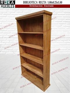 Biblioteca Recta 1.00x0.25x1.80 Librero Encerado Roka
