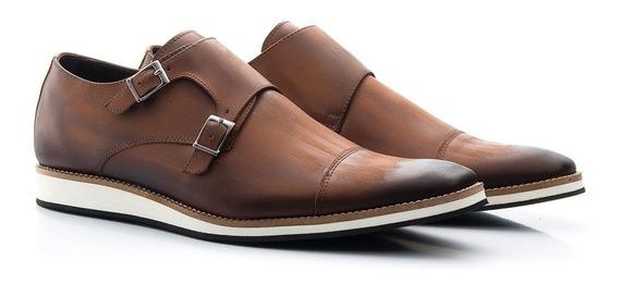 Sapato Oxford Casual Esporte Fino Anatômico C/ Fivela Couro Estonado Estilo Inglês Solado Eva Bigioni 521/02