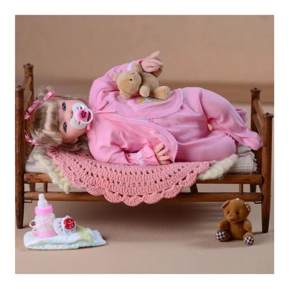 Boneca Linda Bebê Reborn Menina Princesa Loira Com 17 Itens