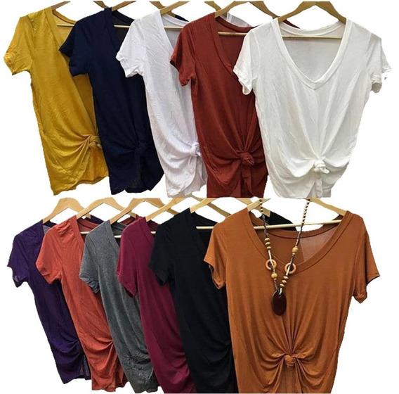 Kit 10 Blusa T Shrt Camiseta Decotada Feminina Podrinha