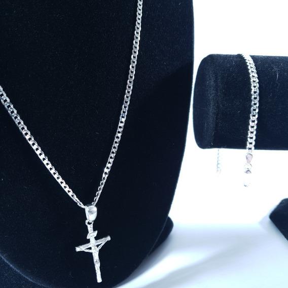 Corrente Prata Com Pulseira E Pingente Crucifixo Maciça