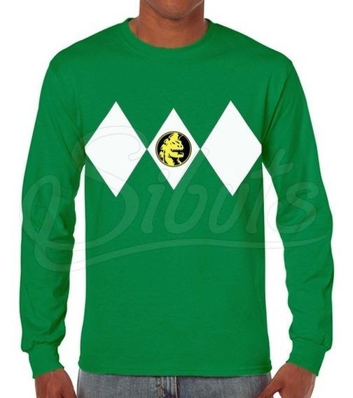 Playera Hombre Manga Larga Power Ranger Green Inc. Envío