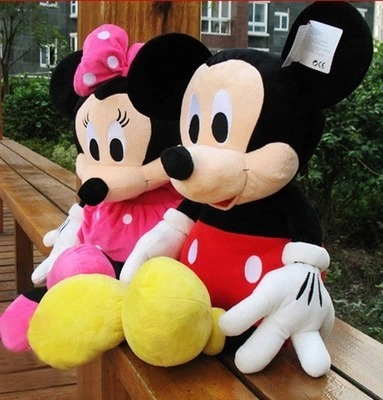 Kit 2 Bonecos Pelucia Mickey Mouse Minnie Mouse 30 Cm Cada