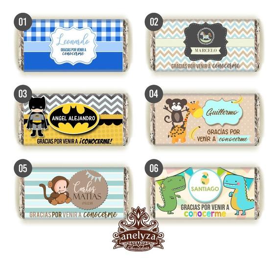 50 Chocolates Personalizados Para Nacimiento De Niño